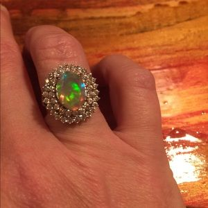Jewelry - Ethiopian Opal & White Sapphire SS Ring